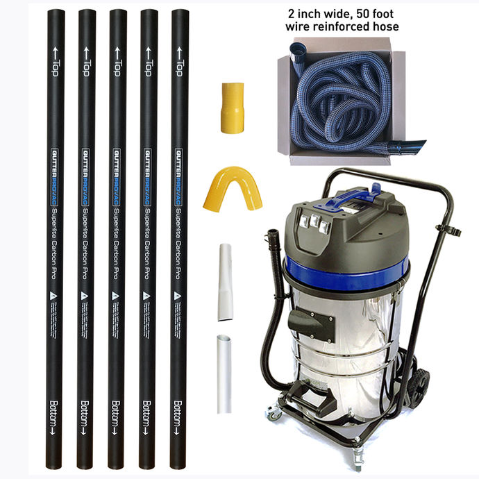 20 Gallon Gutter Vacuum with 20 foot (2 story) reach carbon gutter poles with 2 inch 50 foot hose kit