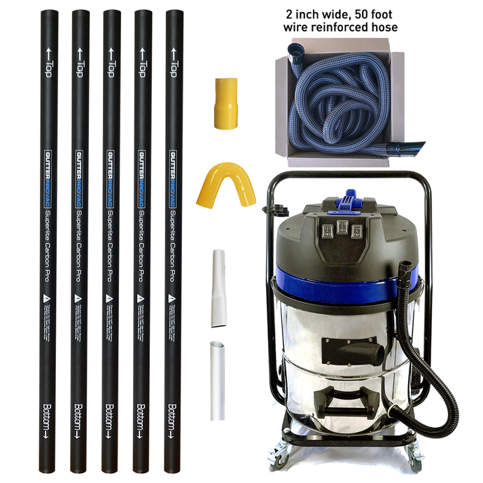 16 Gallon Gutter Vacuum with 20 foot (2 story) reach carbon gutter poles with 2 inch 50 foot hose kit