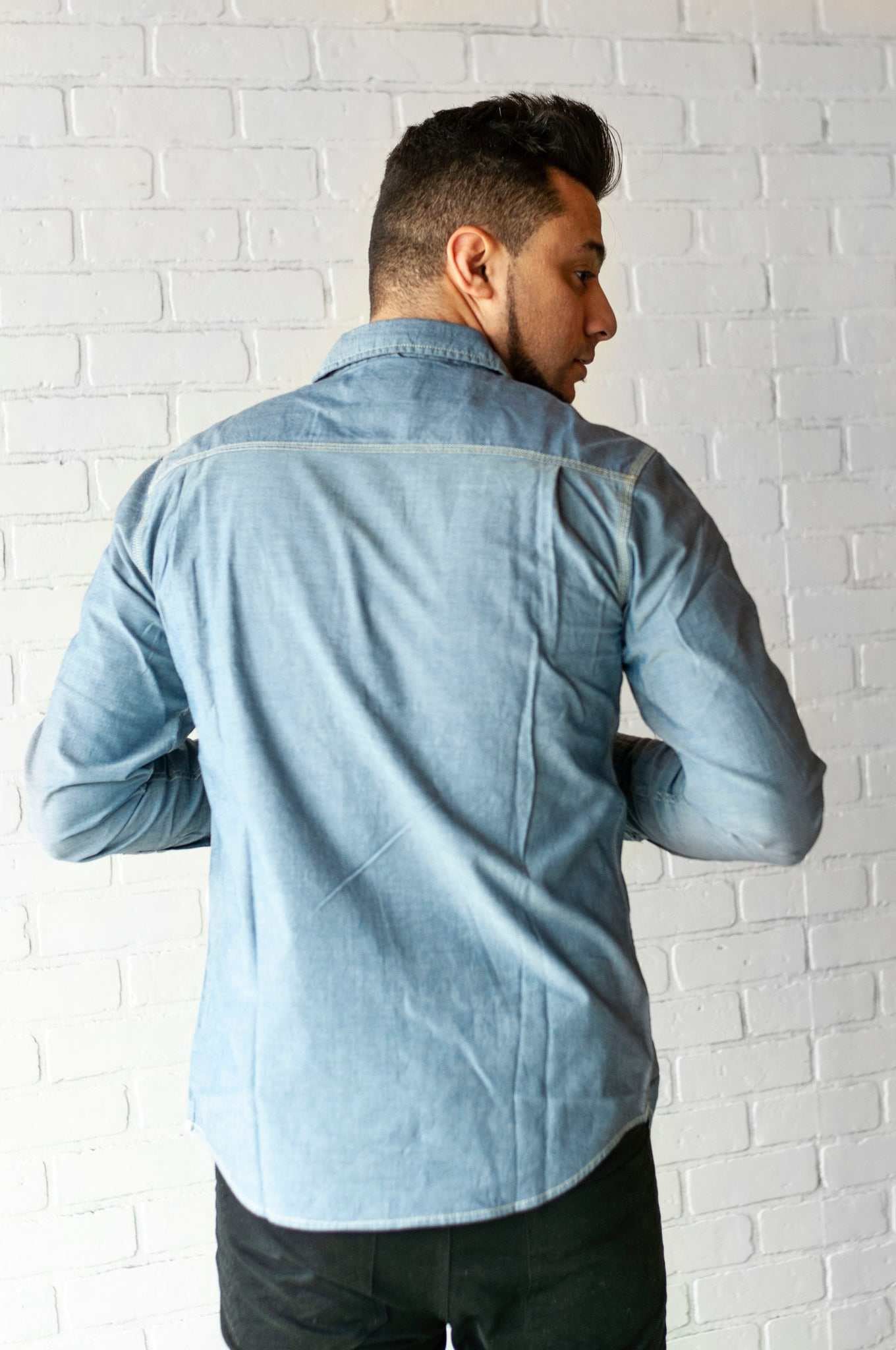 Put The Record On | Men's button up in denim