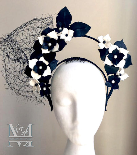 Charlotte - Black & Ivory Halo Flower Crown - MM239