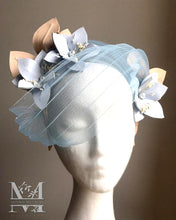 Cleo - Baby Blue & Nude Flower Crown with Veil - MM256