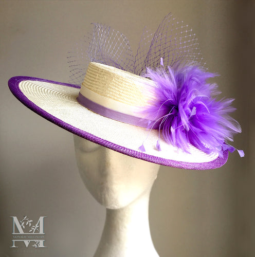 Emmy Boater - Lilac & Ivory - MM324