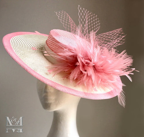 Emmy - Pink & Ivory Boater - MM323