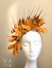 Georgie - Mustard & Gold Leather Fascinator - MM305