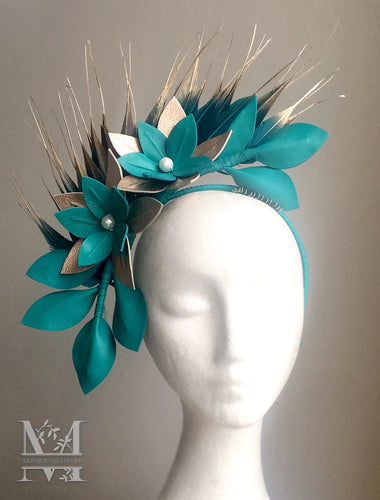 Georgie - Teal and Rose Gold Leather Fascinator - MM308