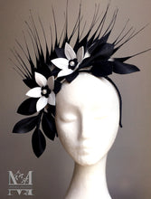 Georgie - Black & White Leather Fascinator - MM306