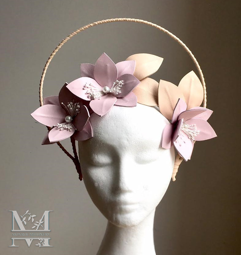 Hope - Pink & Nude Flower Crown with Halo - MM262