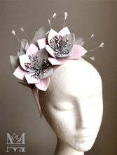 Katie - Pink & Grey Leather Fascinator - MM305