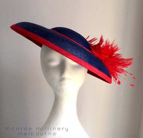 Keelie - Navy and Red Domed Boater - MM354