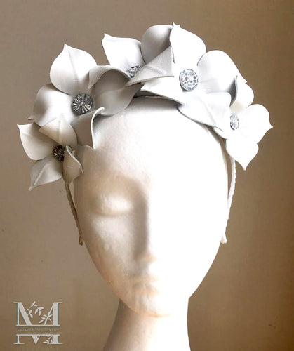 Lily - White Leather Flower Crown - MM236