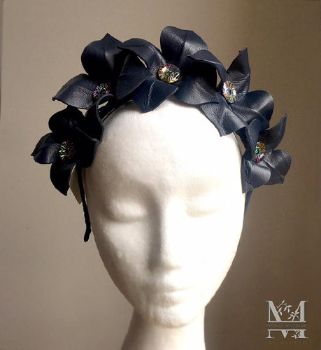 Lily - Leather Flower Crown - Navy - MM254