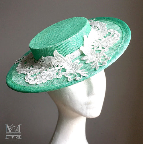 Lucy Boater - Mint Green & Lace Boater Hat - MM317