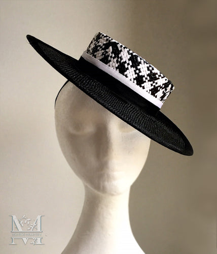 Mandie Boater - Black and White Boater Hat - MM341