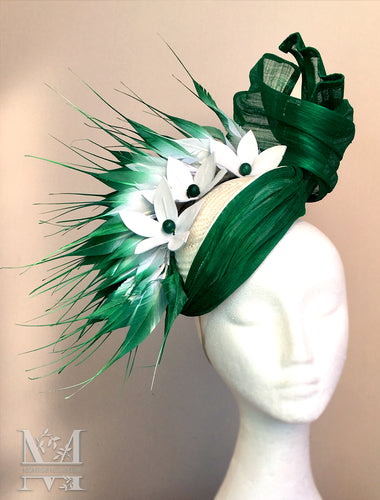 Matilda - Emerald Feather & Silk Hatinator - MM298