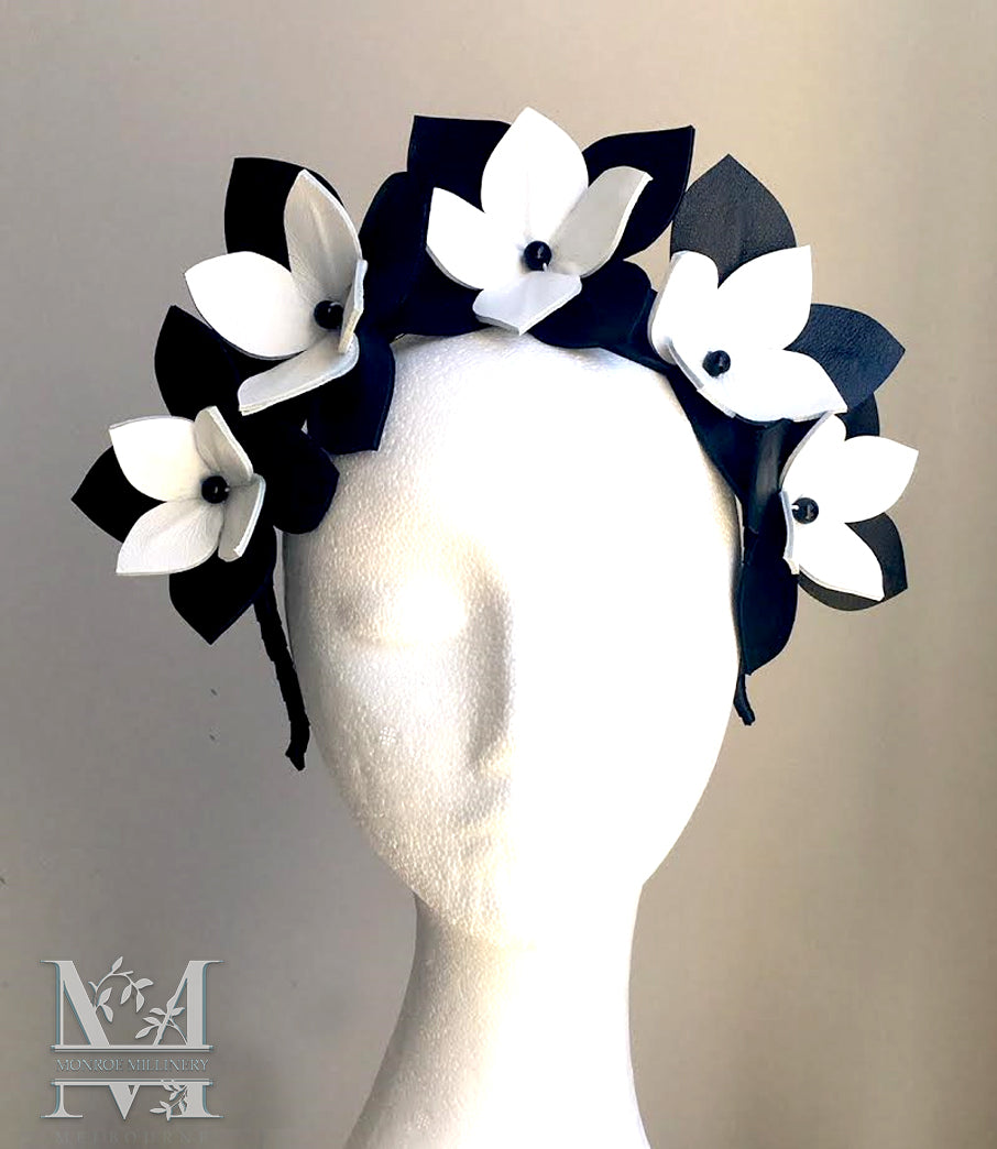 50e51cbab81a3 Maya - Black   White Leather Flower Crown - MM270 – monroe millinery