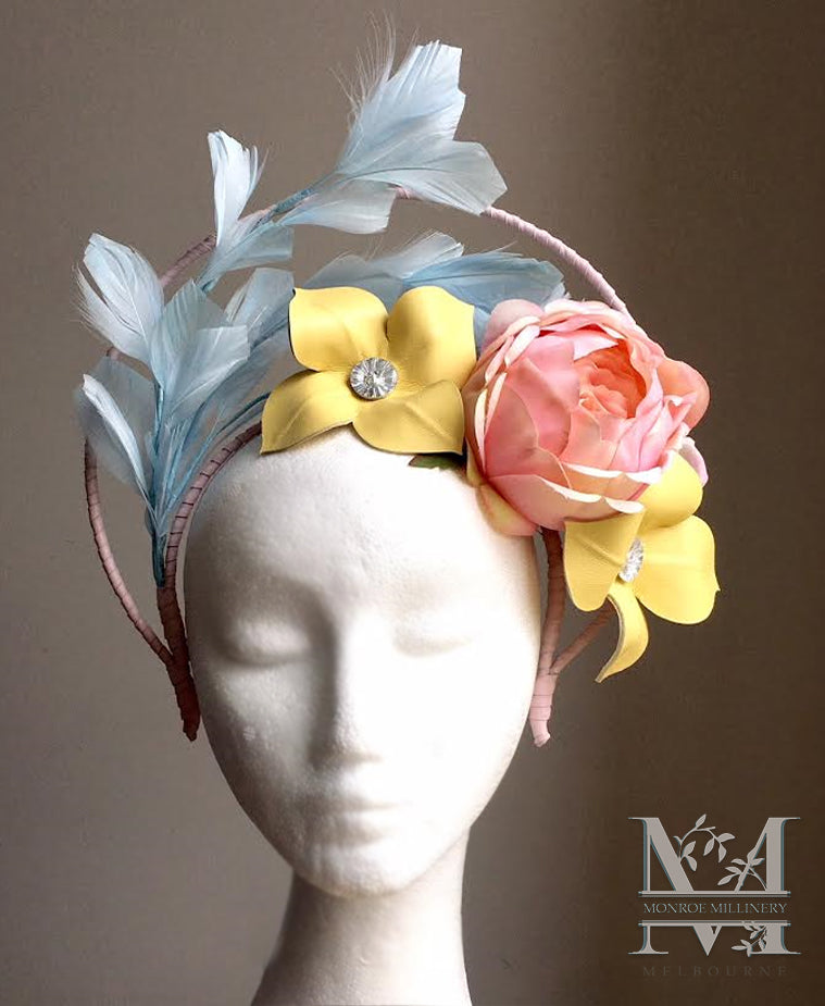 Roxy - Floral and Feather Fascinator - MM265
