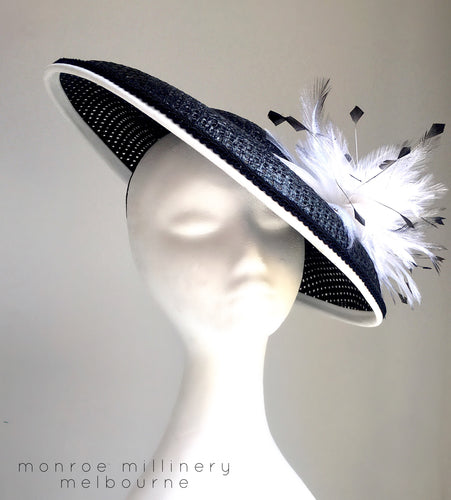 Polly - Black and White Domed Boater - MM352