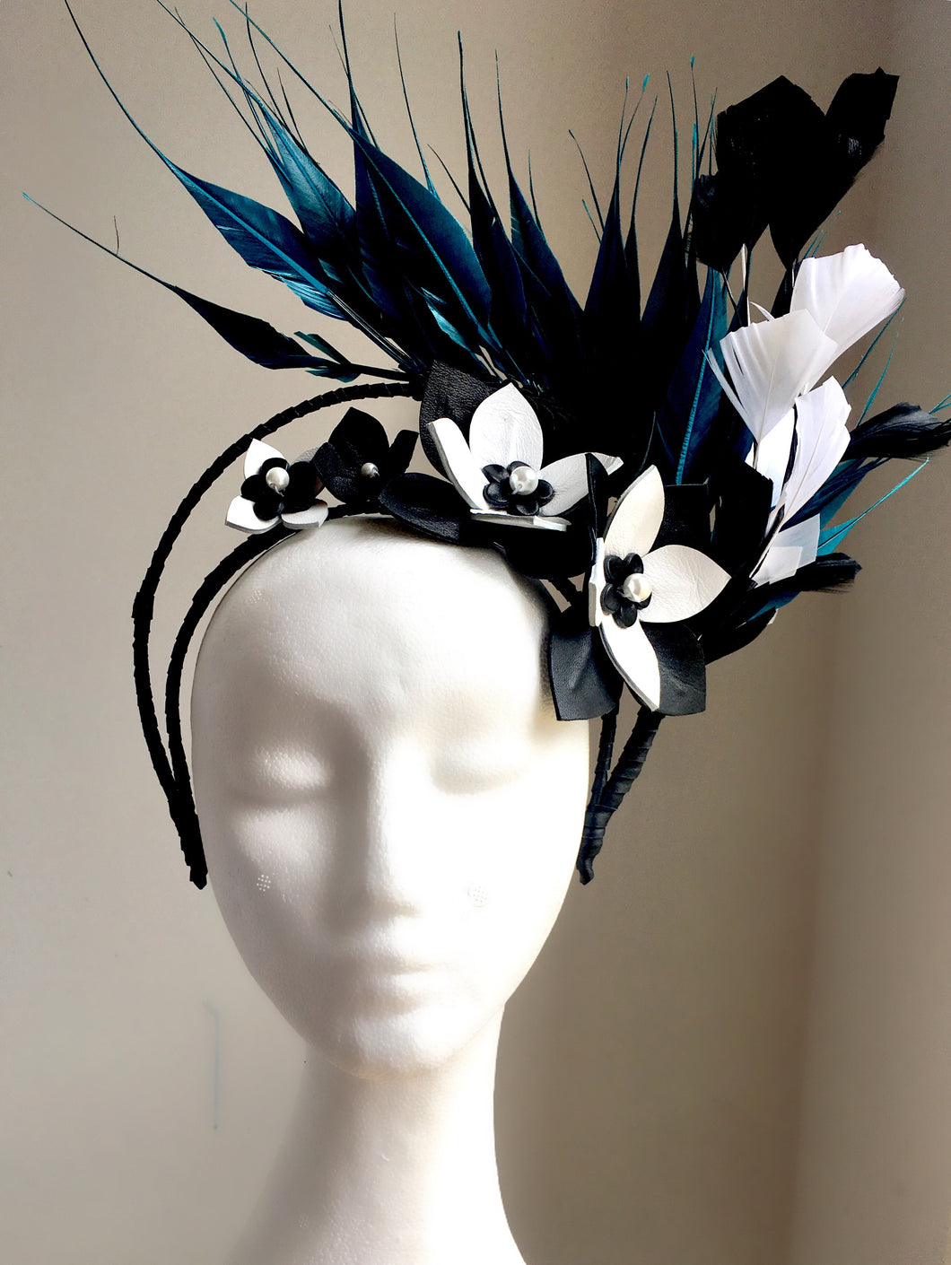 Beckie - Teal & Black Leather and Feather Fascinator -MM290
