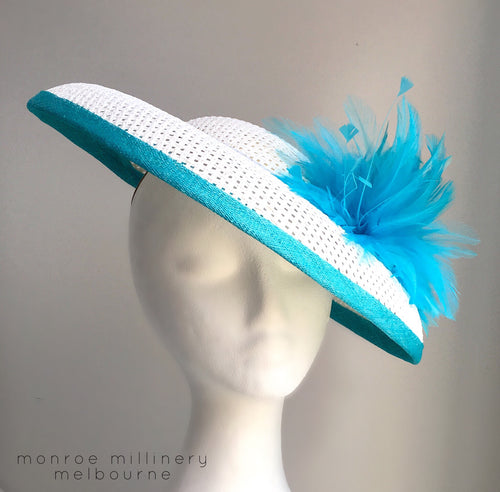 Keelie - Turquoise and White Domed Boater - MM347