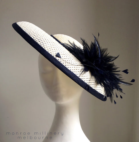 Keelie - Navy and White Boater - MM343