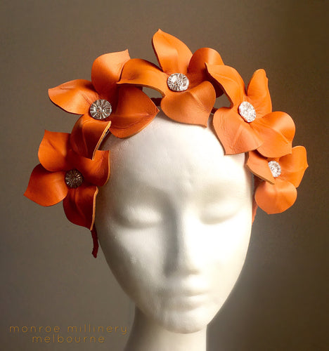 Lily - Orange Leather Flower Crown -MM263