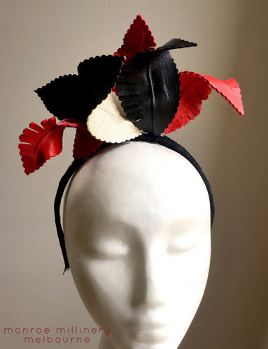 Red, Black & Champagne Leather Fascinator