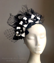 Milly - Black and White Leather Fascinator - MM222