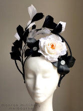 Nikki - Black & White Floral & Leather Halo Headpiece - MM262