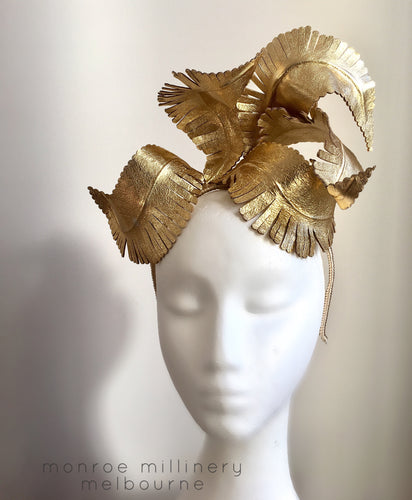 Gold Leather Feather Crown