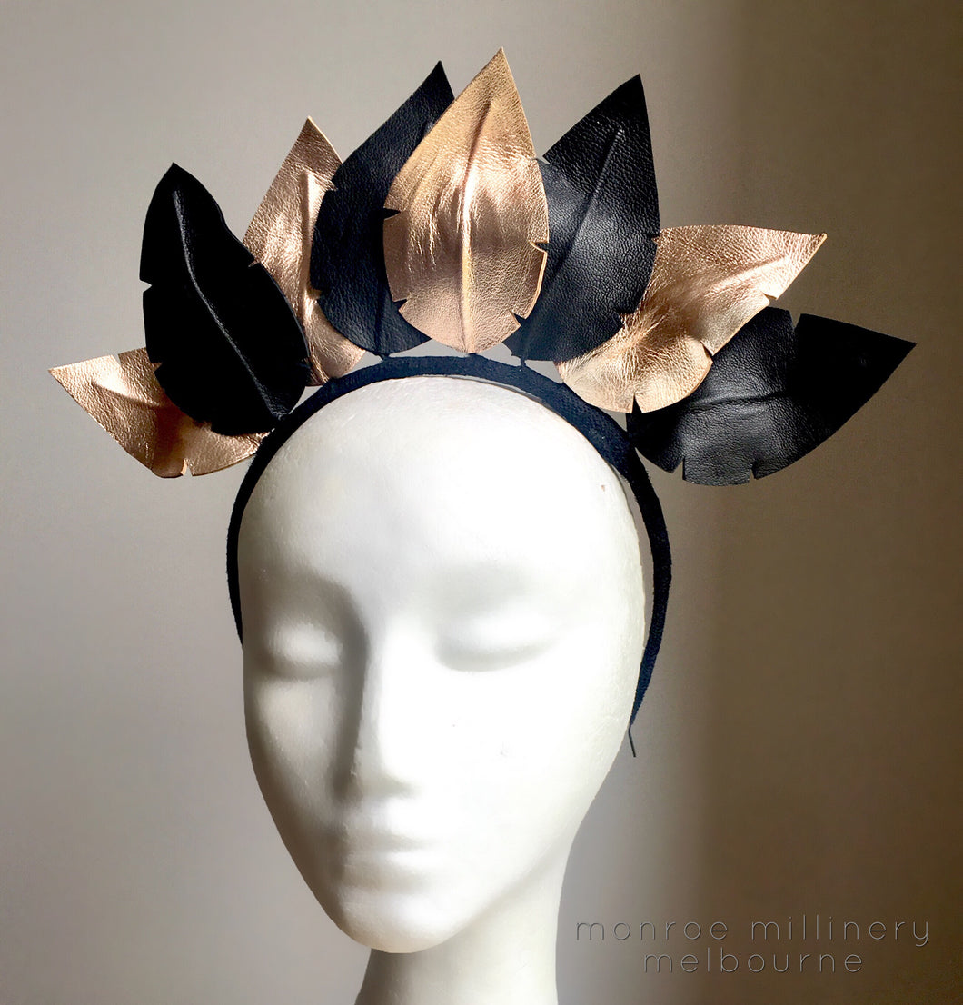 Rose Gold & Black Leather Crown #181