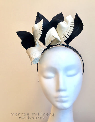 Audrey - Black & White Leather Crown