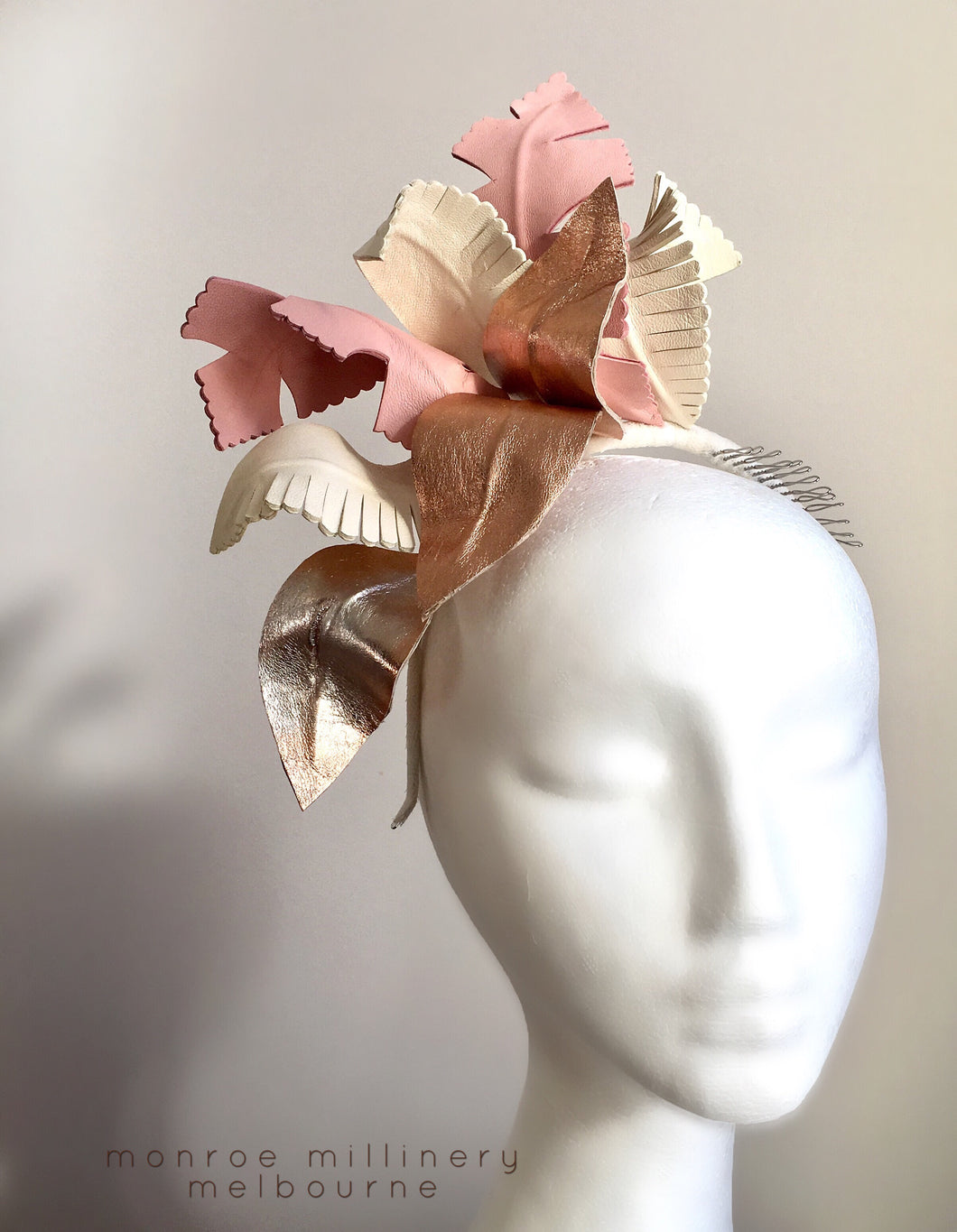 Pink   Rose Gold Leather Fascinator – monroe millinery 590eb7a7e6b