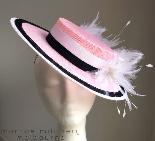 Ellie - Pink, Black and White Boater - MM339