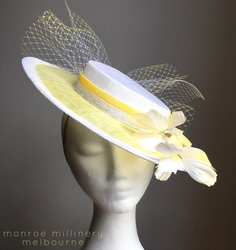 Daisy - Yellow & White Boater - MM314