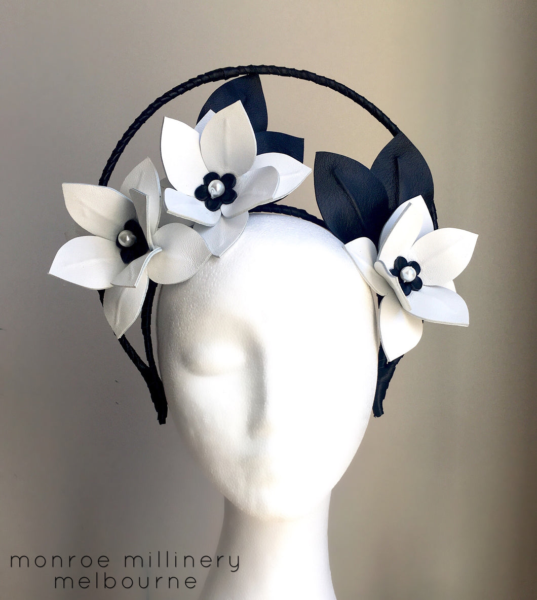Hope - Black & White Leather Flower Crown with Halo - MM265