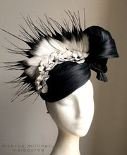 Adele - Black & Ivory Leather & Silk Hat - MM217