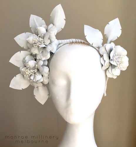 Amelia - Leather Flower Crown White -MM232