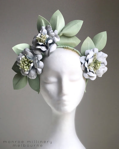 Morganna - Mint & White Leather Fascinator - MM360