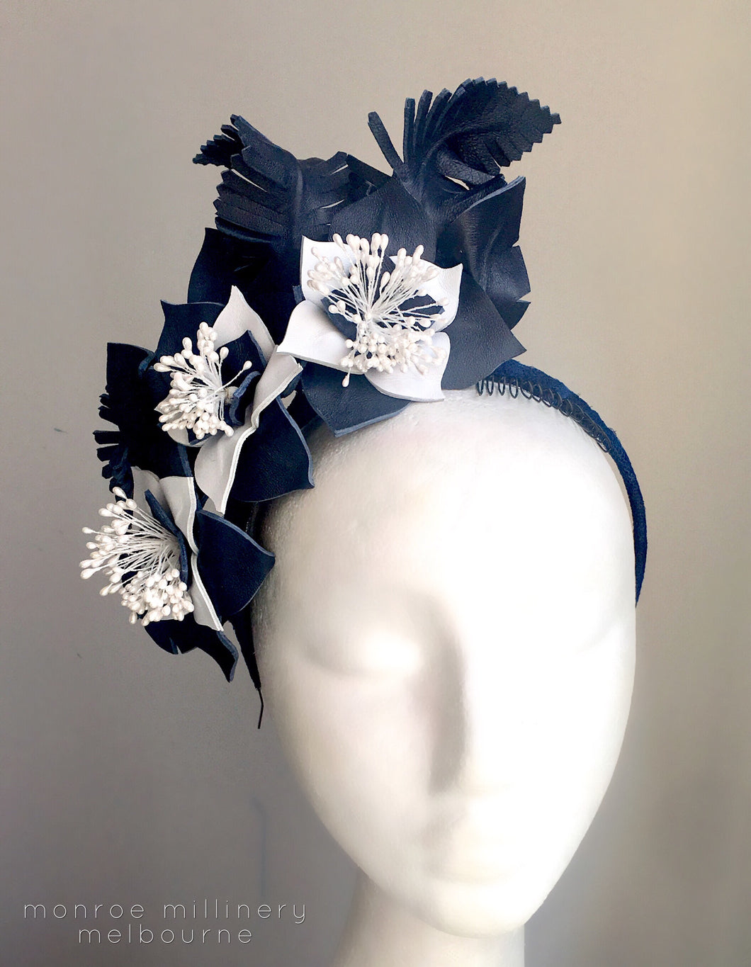 Madeline - Navy & White Leather Fascinator - MM224