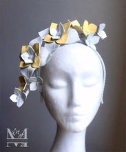 Maisy - Yellow & White Leather Flower Headpiece - MM252