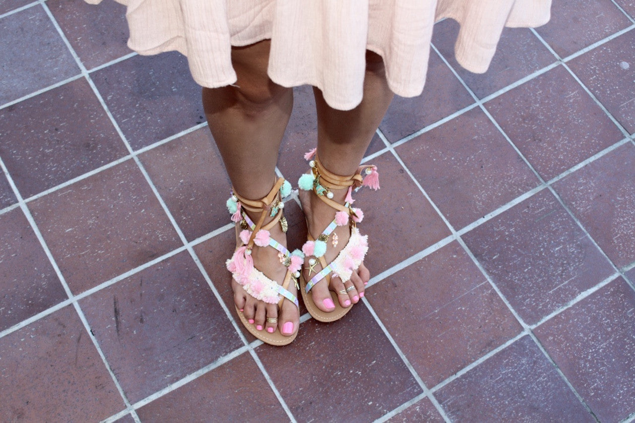 DIY Mermaid Unicorn Pom Pom Sandals