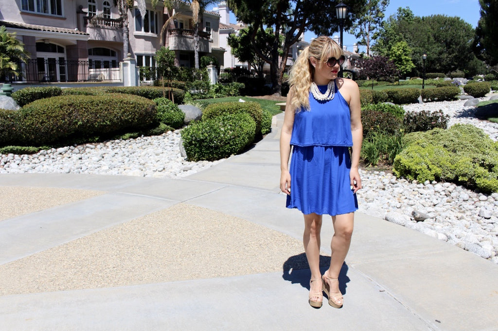 blue dress | mini dress | halter dress outfit