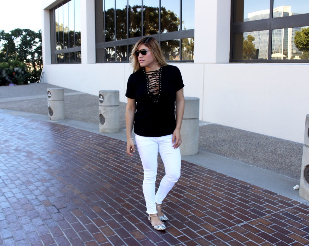 Black lace up shirt | OOTD