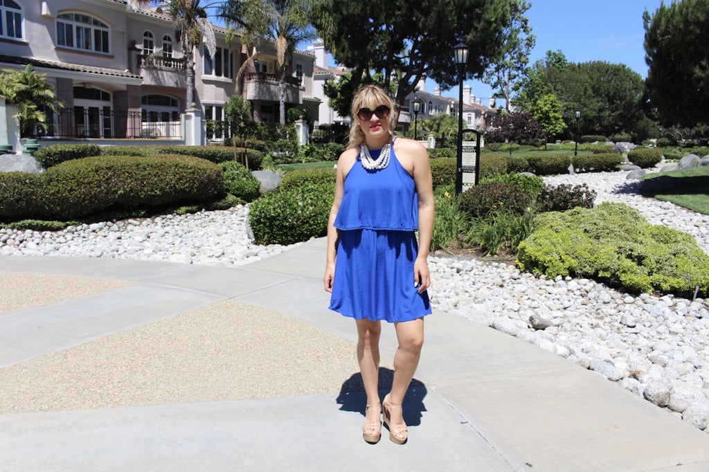 blue Flowy dress | fashion blog