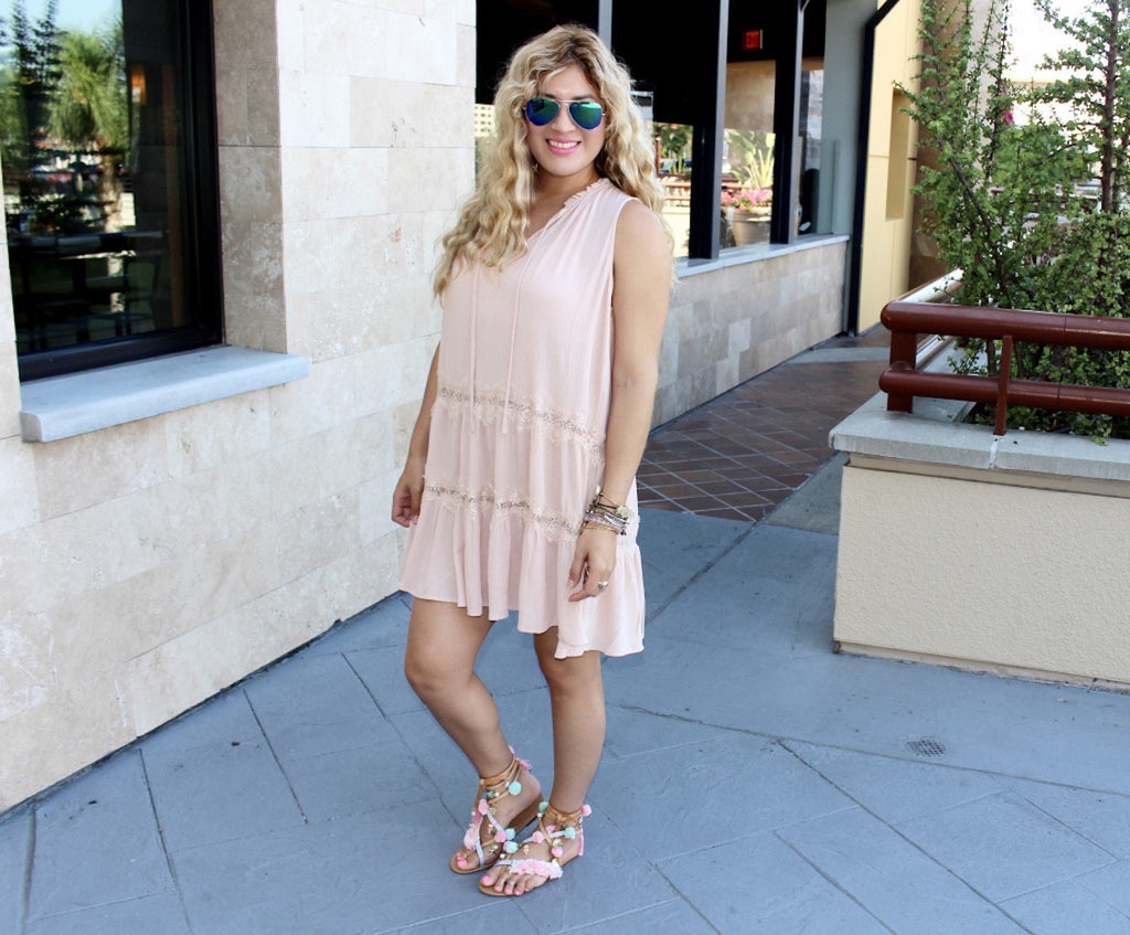 pink ruffle dress
