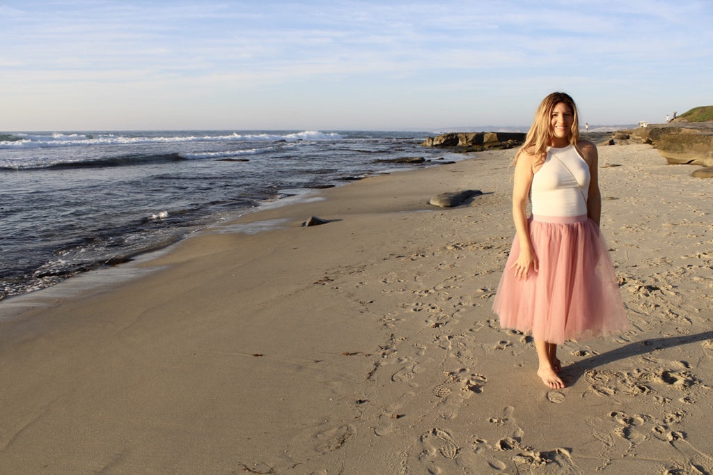 pink tulle skirt | beach sunset
