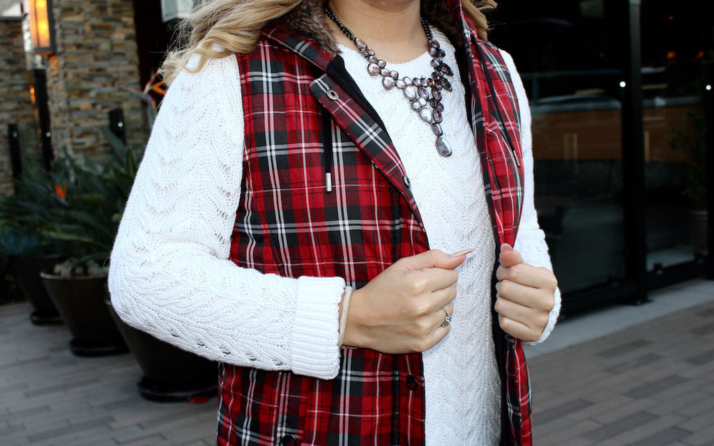 red plaid vest | winter outfit | fashion blog