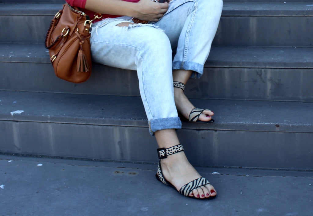 zebra sandals | denim jeans