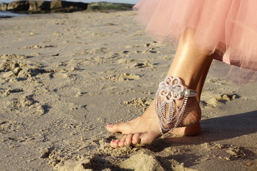 silver ankle cuff | beach sunset