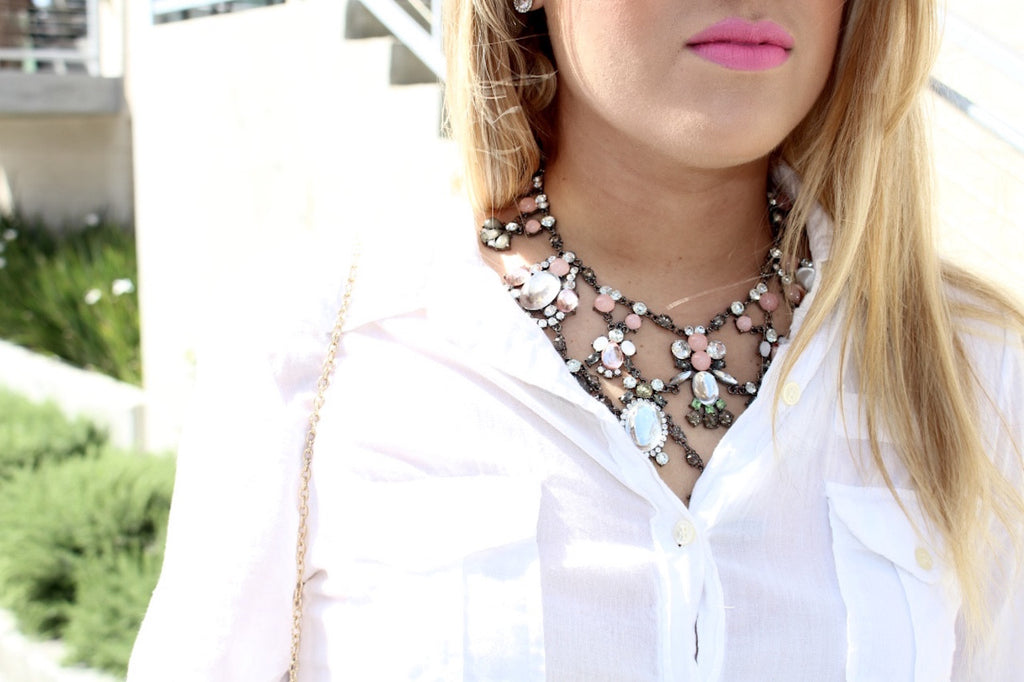 statement necklace | white button up | pink lipstick